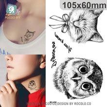 Harajuku Waterproof Temporary Owl Tattoos For Boy Women Cat Sketch In English Design Flash Tattoo Sticker RC2258