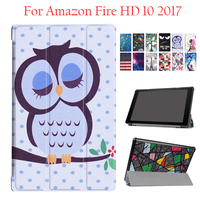 Đối với Amazon Kindle fire HD10 2017 PU Da Case Bìa Đầy Màu Sắc bảo vệ Đứng Đối Với Amazon Lửa HD 10 Tablet 10.1 '' Thông Minh Da
