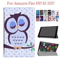 Amazon Kindle yangın HD10 2017 için PU Deri Kılıf Kapak Renkli Amazon Yangın HD 10 Tablet Için koruyucu Standı 10.1 '' Akıllı Cilt