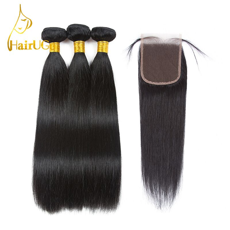 HairUGo  Hair Pre-colored  Straight Human Hair 3 Bundles withClosure Malaysian Bundles with Closure Nature Black Color Wig