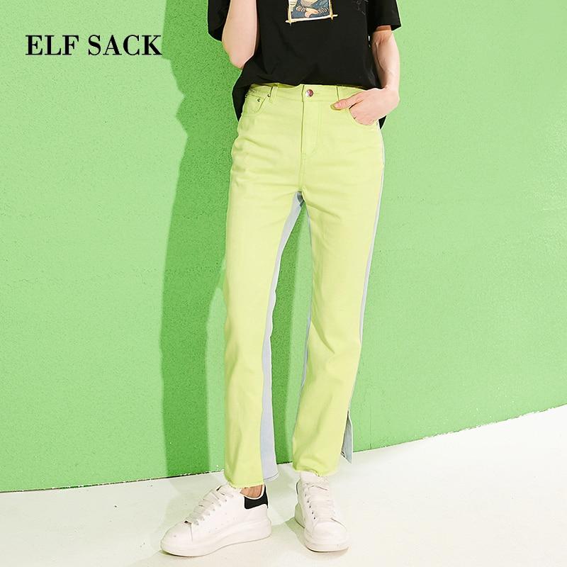 ELFSACK 2019 New Woman Jeans Cotton Mid Contrast Patchwork Full Length Woman Pants Oversized Kpop Denim Trousers Femme Pants