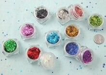12 Boxes/Lot Nail Art Holographic Sequins Glitter Multi-Color Four-angle Cross star DIY Paillette Decoration4mm