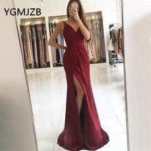 Sexy Long Evening Dresses 2019 A-Line V-neck Spaghetti Strap High Slit Satin Saudi Arabic Women Formal Prom Gown Party Dress цена и фото