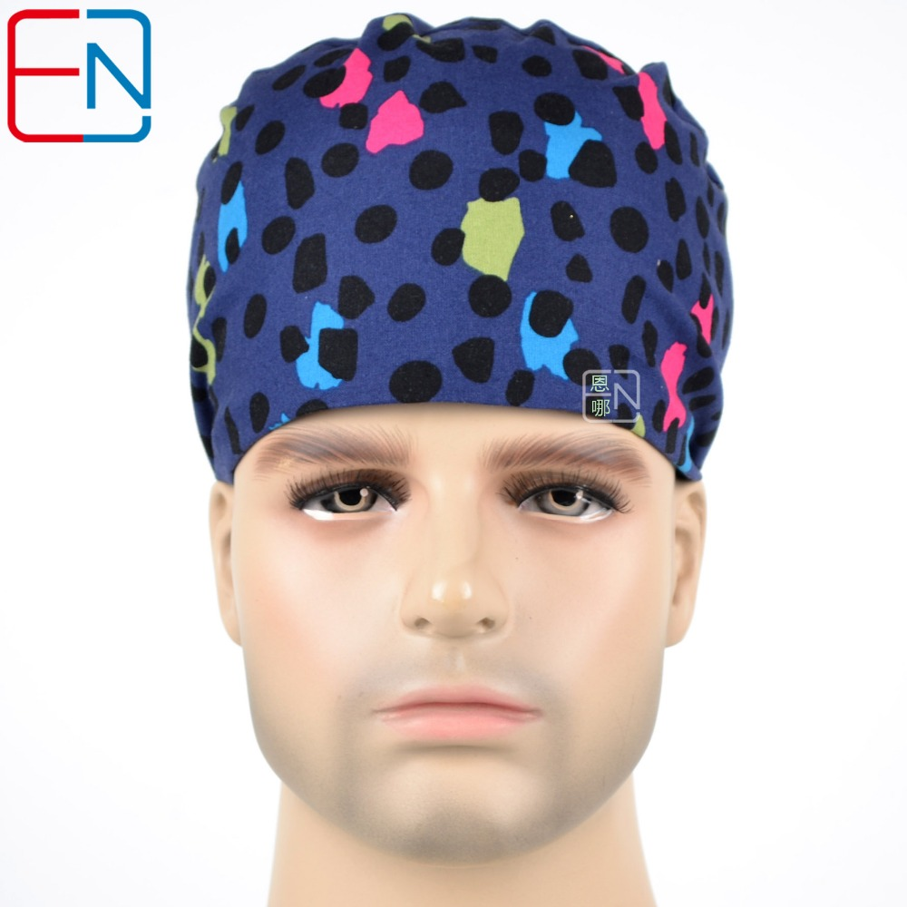 Hennar Scrub Caps Top Brand Surgical For Men Black Dots Medical Caps High Quality Scrub Caps Masks Doctor Caps Dentist Unisex