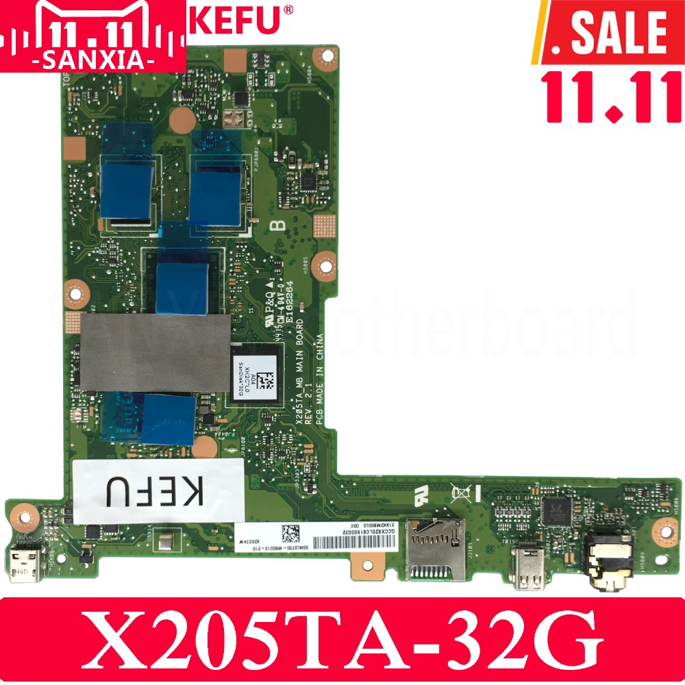 KEFU X205TA Laptop motherboard for ASUS X205TA X205TAW X205T X205 Test original mainboard 32G genuine laptop upper case for asus eeebook x205 x205t x205ta palmrest cover with eu bilingual english keyboard red