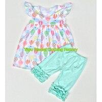 Bahar yaz butik kıyafet Balon baskı kız elbise maç fırfır nane yeşil kıyafetler pantolon toptan çocuk giyim