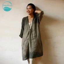LinenAll women's iron green 100% linen V-neck middle-three quarter sleeve long dress robe female