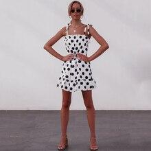 Women Short Dress Ruffles Print Polka Dot Beach Female Sling 2019 Summer Party Casual Loose Dresses Vestidos Modis D30