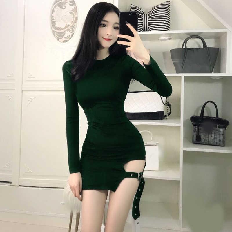 ede984e7aea7e New Vintage Gothic Women sexy bodycon dresses fashion brands club Female  Long sleeve Black mini short Slim Tight dress vestidos