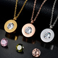 Top Brand Crystal Body Chain Necklace Stainless Steel Interchangeable CZ Stone Necklace for women