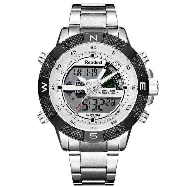 Men Sports Wrist Watch Mens Military Waterproof Watches Men Full Steel LED Digital Watch Clock Male reloj hombre 2018 READEEL
