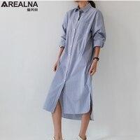 2018 Spring Autumn Sexy Striped Women Shirt Dress Long Sleeve Tunic Mini Short Dresses Mujer De