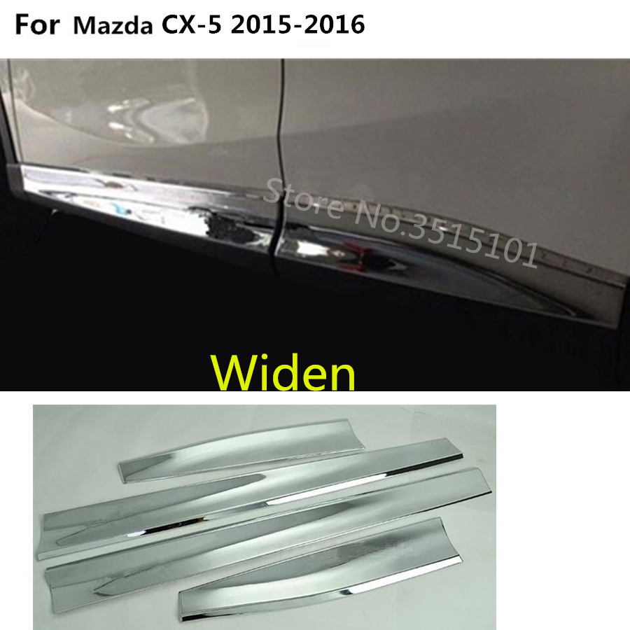 Car styling ABS chrome Side Door Body trim stick Strip Molding Streamer panel 4pcs For <font><b>Mazda</b></font> <font><b>CX</b></font>-<font><b>5</b></font> CX5 2013 2014 2015 <font><b>2016</b></font> image