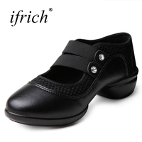 Ifrich Hot Sale Girls Ballroom Dancing Shoes Comfortable Women Jazz Sneakers Red Black Ladies Dance Elastic Band Footwear Cheap