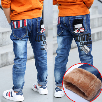 Retail 2018 winter thickened pants boys jeans kids stylish cartoon trousers autumn pencil legging roupas infantis menina clothes Boys Jeans