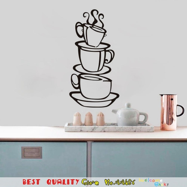Cup Tea Coffee Stickers Kitchen Wall Decor Decoration 3D Diy Decal For Home Dining Room