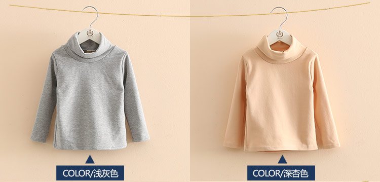 2018 Spring Autumn 2-10T Years Children'S Candy Color Sweet Long Sleeve High Neck Unisex Kids Girl Boy Basic Turtleneck T-Shirt (8)