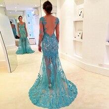 Neueste Vintage Prom Kleid Mit Appliques See Blau Tüll Abendkleid Benutzerdefinierte vestido de festa gala jurken
