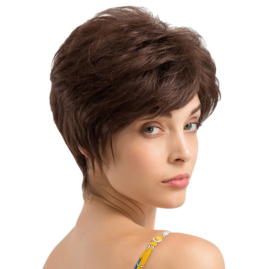 Chic Short Wigs Women Human Hair with Bangs Fluffy Layered Pixie Cut Wig inclined bang short layered straight colormix human hair wig