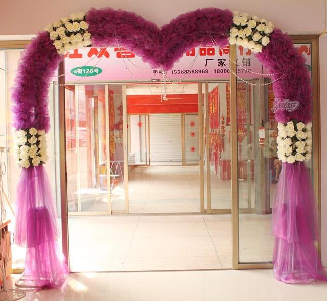 Finished Silk Organza Wedding Flower Arches Heart Shaped Jewelry Anniversary Arrangement Men Opening Doors