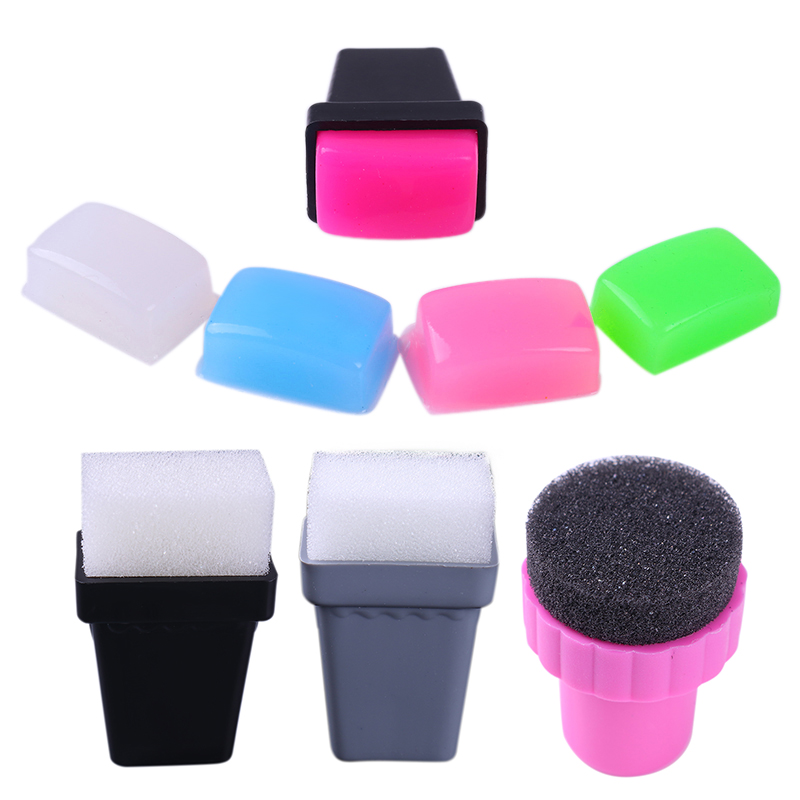 1Pc Stamp Holder & 5 or 10Pcs Sponge Marshmallow Squishy Stamper Head Refill Head Nail Art Tools