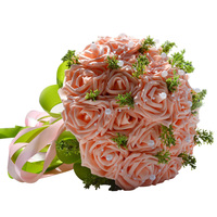 Handmade Pastorale Artificiali Fiori Finti Bouquet di Rose di Simulazione Perle Nuziale della Holding Toss Bouquet per la Cerimonia Nuziale Favorisce D168