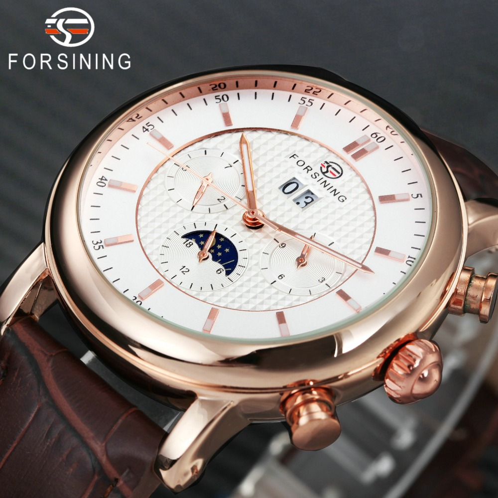 FORSINING 2018 automatique mécanique hommes montres Top marque de luxe soleil lune affichage 2 sous-cadran calendrier mode Royal montre-bracelet