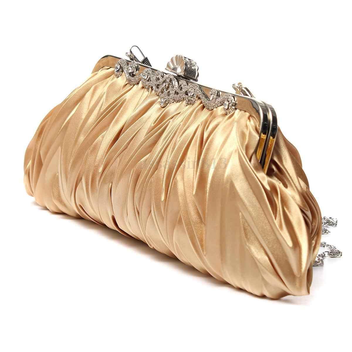 Fashion Wanita Pesta Pernikahan Tas Tangan Dompet Gadis Lembut Tas Malam Tas Pengantin Wanita Satin Kristal Clutch