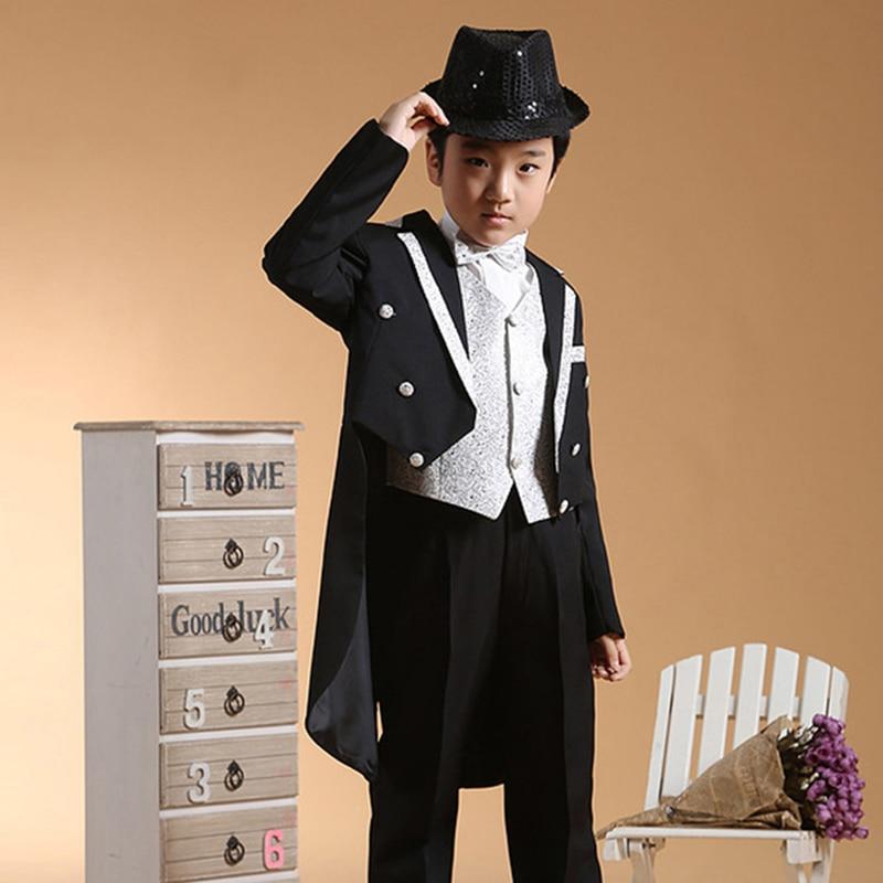5ks / Set Black Boys Tuxedo Dress obleky pro chlapce Formální oblečení pro svatby Chlapci obleky Dlouhé sako obleky Set Velké dětské kostýmy