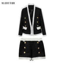 цена на 2019 New Tweed 2 Piece Set Women Double Breasted Office Women Suit Coat+Shorts Spring autumn Casual Long Sleeve Women's Sets