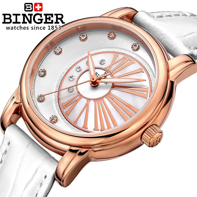 Switzerland Binger Women's watches diamond luxury top brand clock leather strap quartz waterproof Wristwatches B1137-2