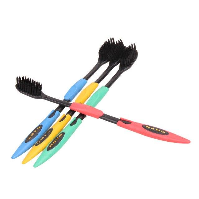 Дешевые Горячие Продажи 4 ШТ. Двухместный Ultra Soft Зубная Щетка Bamboo Уголь Nano Кисть Чистка Зубов Гигиена Полости Рта Dental Care случайная цвет