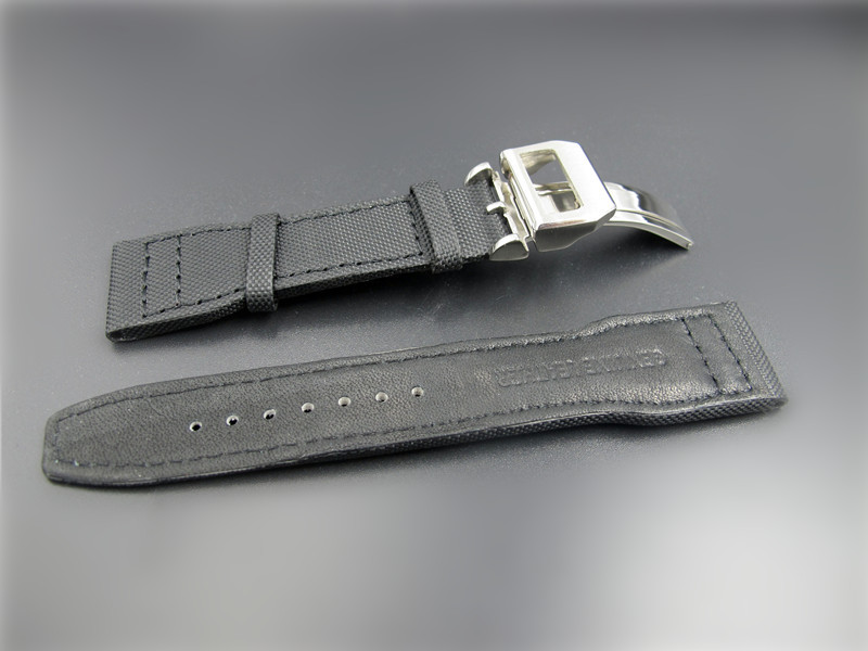 ФОТО 22mm Black Leather Watch Band/Strap Stainless Steel Deployment Clasp For  Watches men Mechanical Wristwatches
