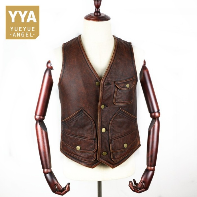 Vintage Genuine Cow Leather Vest Men Business Slim Real Leather Waistcoat Top Quality Multi-pocket Sleeveless Jackets Plus Size(China)