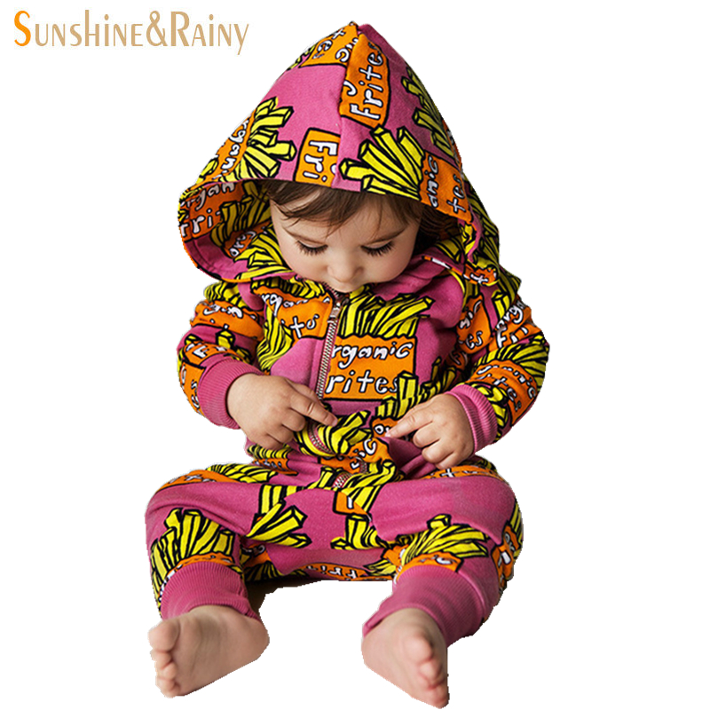 d3bbf8f8af1fe Sunshine Rainy Ins Style French Fries Newborn Baby Rompers Cartoon ...