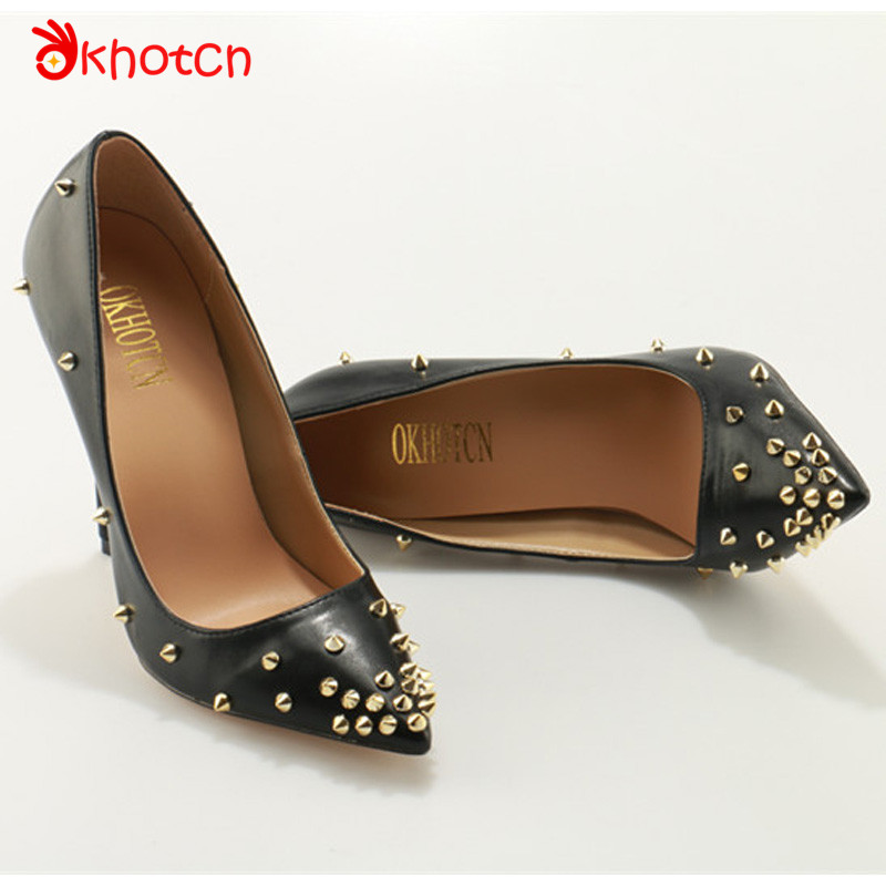 Okhotcn Sexy Zapatos Mujer Fashion Studded Rivets 10CM Thin High Heels Women Pumps Wedding Party Pointed Toe Spikes Shoes cdts 35 45 46 summer zapatos mujer peep toe sandals 15cm thin high heels flowers crystal platform sexy woman shoes wedding pumps
