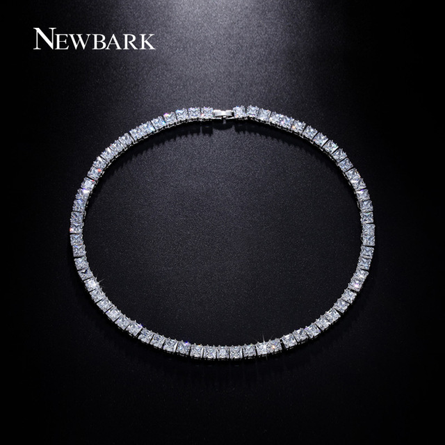 NEWBARK Noble Statement Necklace Female 2.5carat 63pcs Square CZ Zirconia Pendant Round Chokers Necklaces Christmas Gifts