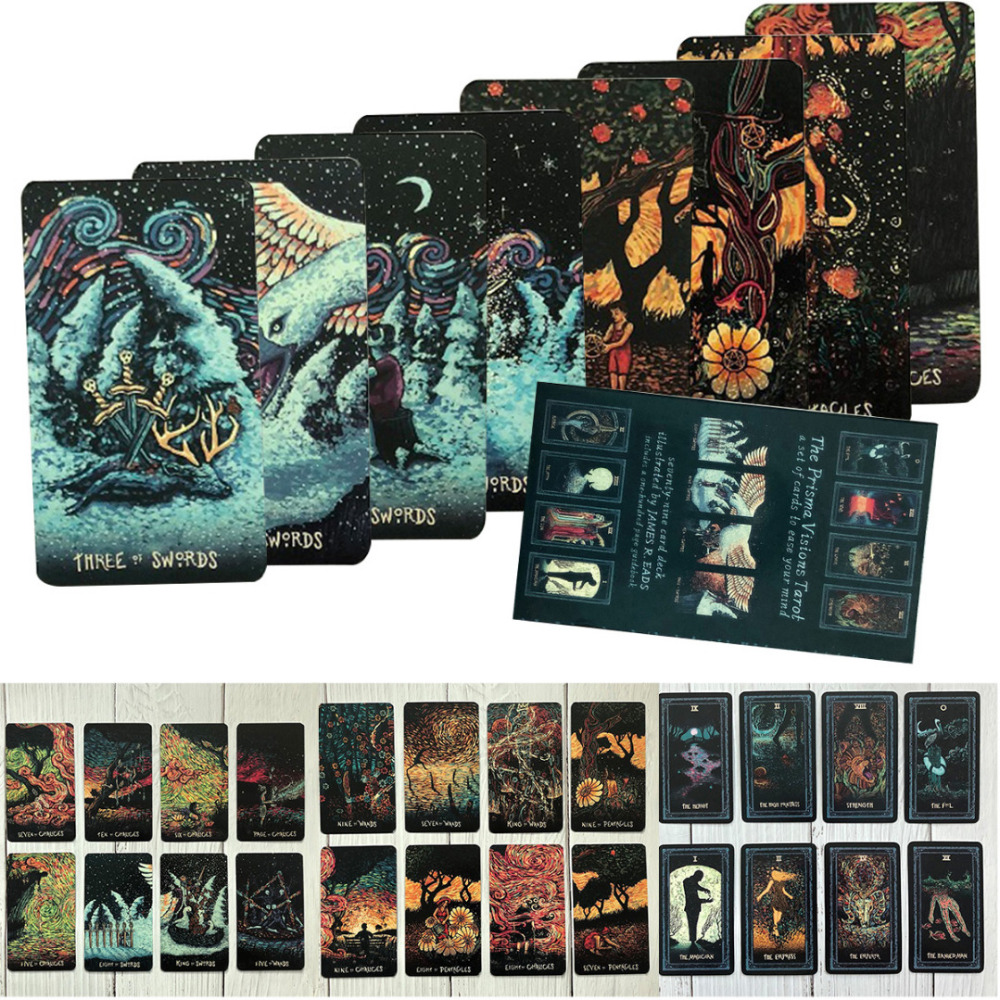 2019 New English Deck Tarot Cards Game Silver Plating Prisma Visions Tarot Board Game For Party Cards Game