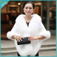 Moda inverno magro Faux Fur Cape mulheres xale quente elegante fêmea pele casaco colete Outwear frete grátis
