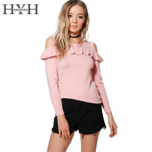 купить HYH HAOYIHUI Sweet Ruffles Off Shoulder O Neck Sweater Autumn Long Sleeve Knitted Sweaters Casual Pull Femme Women Pullover Tops онлайн
