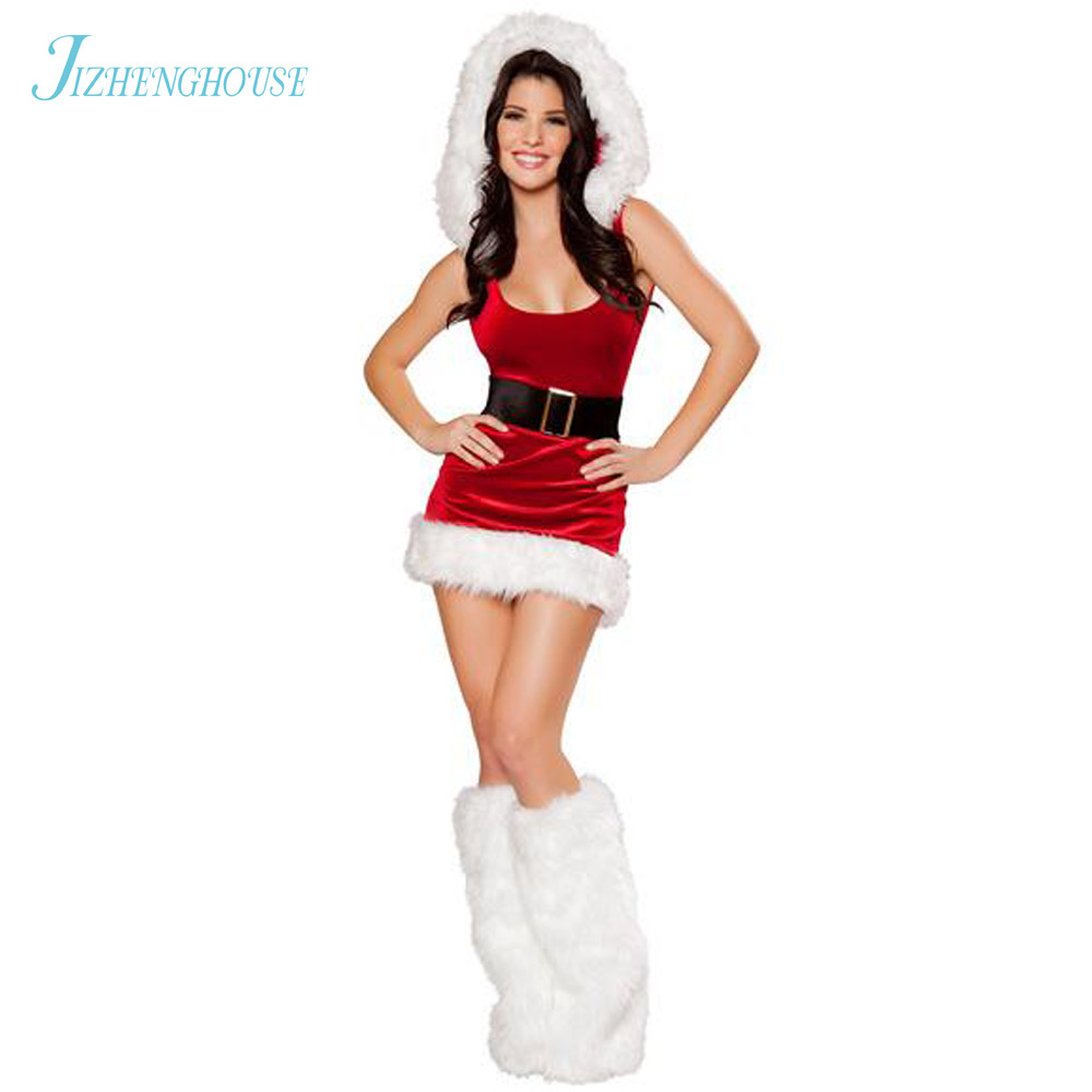 JIZHENGHOUSE Sexy Christmas Costume Red Velvet Fur Trim Stretch Mrs Claus Santa Dress For Party