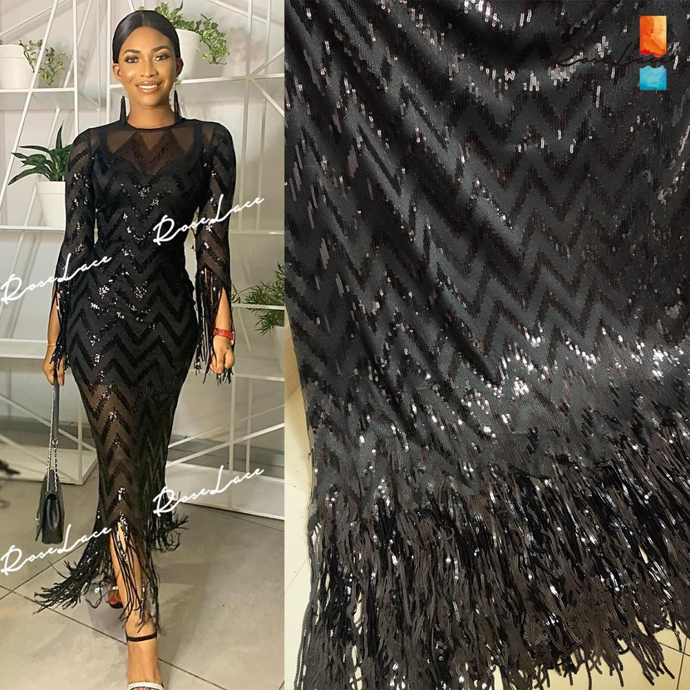 Tassels Sequins Style African Net Lace Elastic Fabrics 2019 High Quality Sequined Embroidered Mesh Lace Material