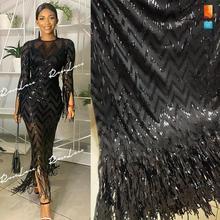Püsküller Sequins stil afrika Net dantel elastik kumaşlar % 2019 yüksek kaliteli payetli işlemeli örgü dantel malzeme düğün kumaşlar