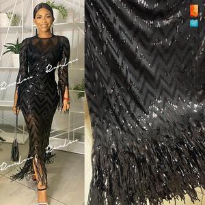 Image 1 - Tissus élastiques et glands, filet africain en dentelle, paillettes et mailles brodées, tissus de mariage de haute qualité 2019