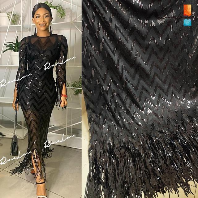Tissus élastiques et glands, filet africain en dentelle, paillettes et mailles brodées, tissus de mariage de haute qualité 2019