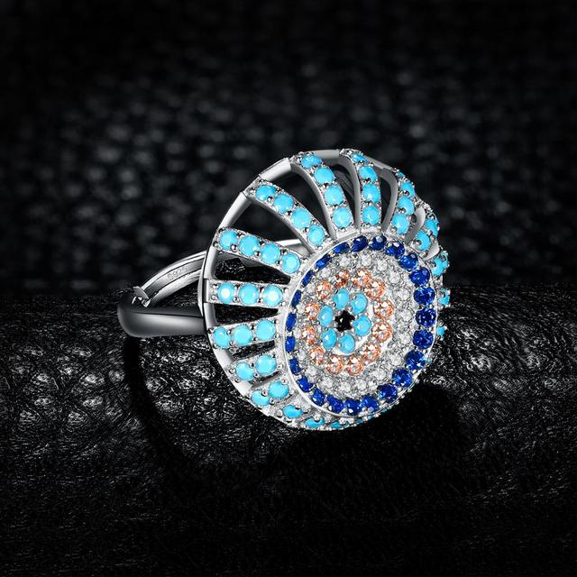 JewelryPalace Bohemian Boho Simulated Turquoise Ring 925 Sterling Silver Rings for Women Party Cocktail Ring Silver 925 Jewelry 3