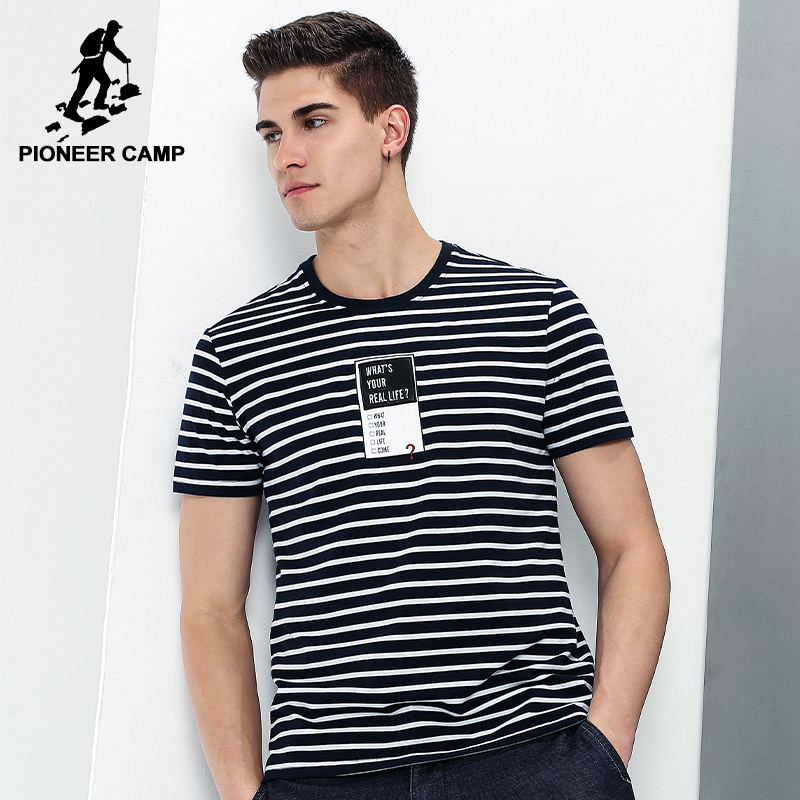 Pioneer camp new style t shirt men brand clothing fashion for Best striped t shirt