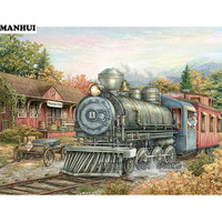 Full Diamond Embroidery Landscape Train DIY 5d Diamond Painting Cross Stitch Acupuncture Mosaic Picture Home Decoration