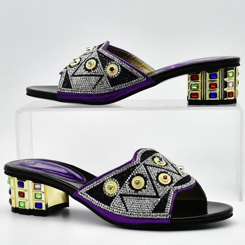 Violet En or Décoré Couleur Assorties Et Chaussures Femmes Avec Ventes Noir pourpre Strass Dans Italien Ensemble Sac Africain bleu 0wgqxvv