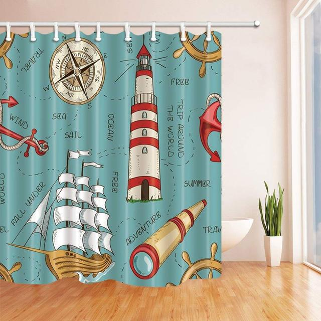 Nautical Decor Wooden Sailboat And Lighthouse Bath Curtain Polyester Fabric Waterproof Shower With Hooks Red
